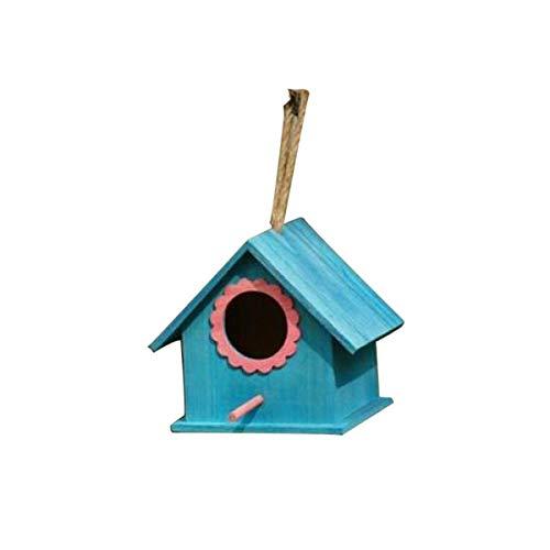 KINGEE Caja Nido De Madera Natural para Petirrojos, Ayuda para El Nido De Pájaros Resistente A La Intemperie Casas para Pájaros para Colgar En El Jardín Y Balcón para Pájaros De Jardín,Azul