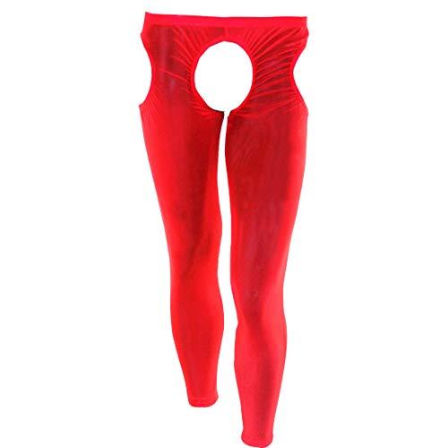 YOOJIA Herren Strumpfhose offener Schritt Transparent Mesh Leggings Ouvert-Pantyhose Reizwäsche Tights Hose Unterhose Erotik Unterwäsche Rot One_Size