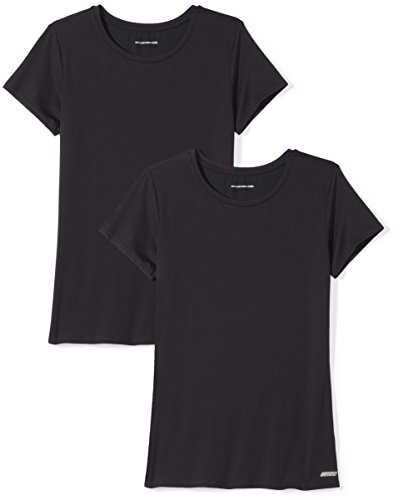 Amazon Essentials 2-Pack Tech Stretch Short-Sleeve Crew T-Shirt Athletic-Shirts, Negro, X-Small