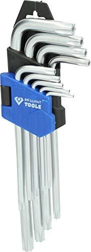 Brilliant Tools BT044009 Jeu de clés TORX Courtes à tête sphérique. 9 pcs, Bleu/Noir
