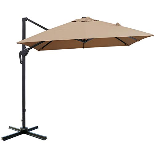 Sunnyglade 10x13ft Patio Offset Hanging Umbrella Rectangular Deluxe Outdoor Cantilever Umbrella with Easy Tilt for Garden, Backyard, Patio,Pool (Tan)