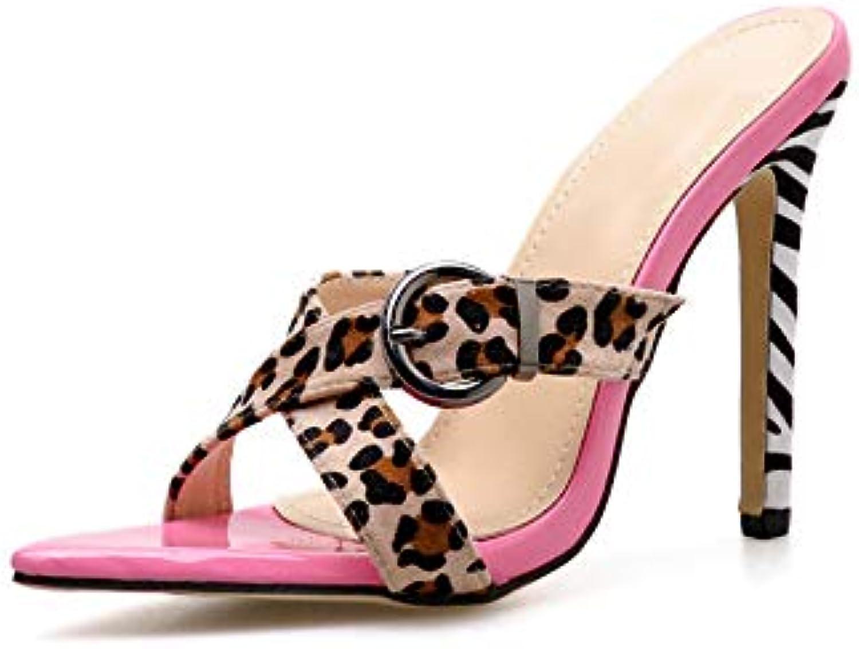 Leopard Pattern Ladies High Heel Slides Sexy Pointed Stiletto Heels Slippers Summer Fashion Roman Style Women's shoes