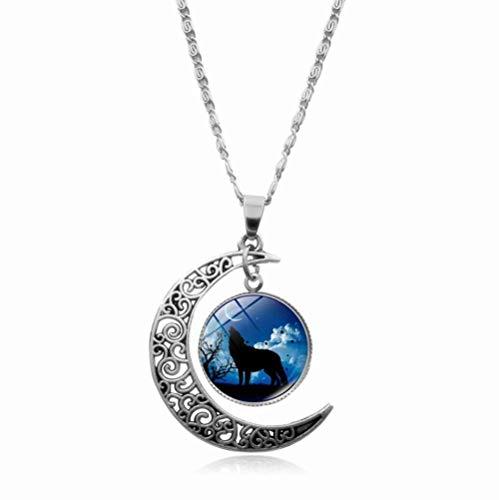 Collar místico vintage con colgante de lobo y luna creciente de cristal con cabujón y colgante de lobo para hombres y mujeres-13