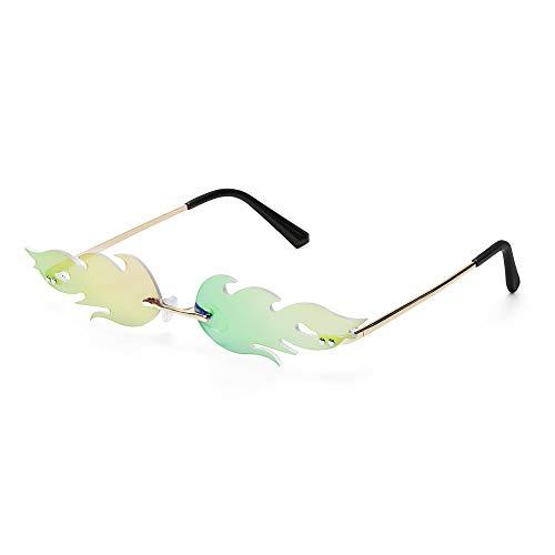 Tianayer Frauen Feuer Flamme Sonnenbrillen Randlos Welle Sommer Brillen Neuheit-Augen-Glas (Grün)