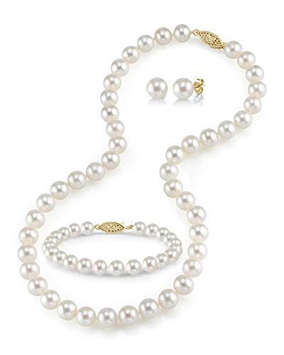 The Pearl Source - Set di perle coltivate d'acqua dolce da 7 a 8 mm, con collana, bracciale e orecchini in oro 14 K e Oro giallo, colore: bianco, cod. 78-FWSETFL-17-3A-YG