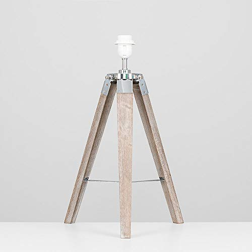 Modern Distressed Wood and Silver Chrome Tripod Table Lamp Base