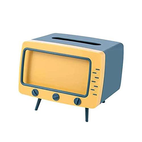 2 en 1 Retro TV forma de caja de pañuelos de escritorio titular de papel dispensador de almacenamiento servilleta caso organizador con soporte para teléfono móvil