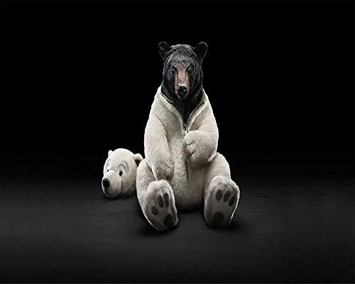 Schilderen op nummer-kits voor volwassenen kinderen senioren junior beginners niveau zwarte beer in een kostuum van een ijsberen ho16 x 20 inch