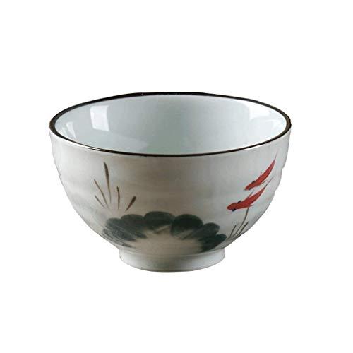 Vajilla, cuencos de cerámica plato de vajilla de vajilla de cuenco de arroz, cerámica Pescado pintado a mano Xiao Bowl Home Soup Cereal Cereal Pasta Glaze Color 4.5 pulgadas para la cocina Regalos de