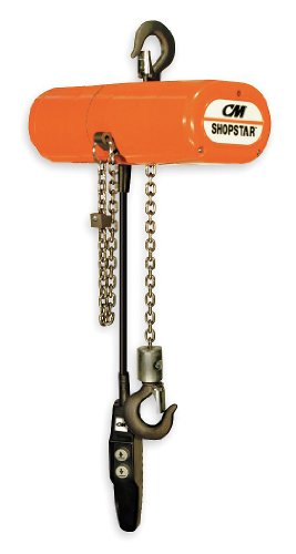 CM ShopStar Electric Chain Hoist, Single Phase, Hook Mount, 1/4 Ton Capacity, 12' Lift, 12 fpm Max Lift Speed, 0.167 HP, 7/8