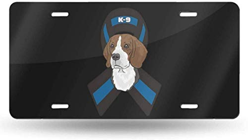 Novelty License Plate Cover License Plate Tag Sign Front Decorative Car Accessories 6'x12' 4-Beagle Police K-9 Thin Blue Line