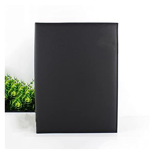 wantanshopping Lederbericht Präsentationsordner mit Stifthalter Faltbare Abdeckung Zwischenablage Business Office Binder Briefpapierdaten Binder für Schule, Büro (Color : Black)