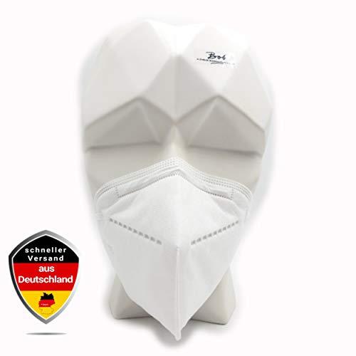 Mund Nasen Maske 10 STÜCK Filtrierende Halbmaske PP Vlies + Hochfiltrationspapier 5-lagig Schlaufe mit Gummizug, integrierter Nasenclip in weiss Filterleistung 95%