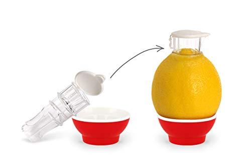 Patent-Safti Entsafter I Der Originale Safti Ausgießer für Zitronen, Orangen etc. I Einfacher als Jede Zitronenpresse oder Saftpresse I BPA frei, (Rot)