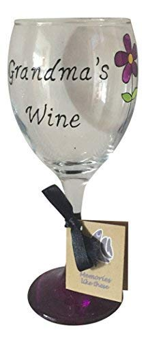 Violet fleur de vin avec inscription Grandma 340 ml Verre à vin peint à la main par Memories-like-these Verre à vin Inscription