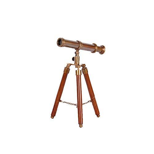 Waj Americano Europeo Cobre Antiguo Antiguo de Latón Sólido Madera Trípode Telescopio Francés Adornos Suaves Adornos...