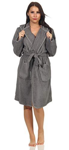 NATURA WALK Bademantel Damen mit Kapuze, 100% Bio Baumwolle, aus kontrolliert biologischem Anbau Größe M, Farbe Anthrazit