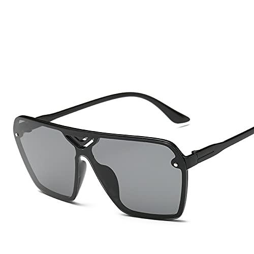 Gafas De Sol Para Hombres Y Mujeres Tamaño medio Hoja gris de marco negro