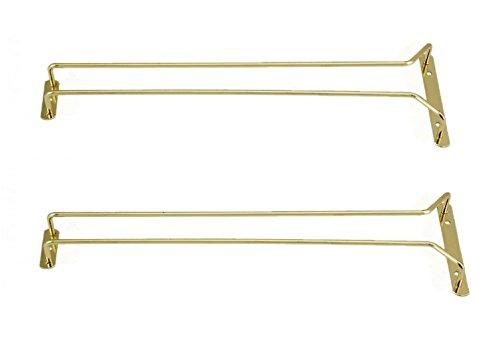 Great Credentials Set of 2-16-Inch Long Wine Glass Rack Wire Hanging Rack Wine Glass Hanging Rack Wire Wine Glass Hanger Rack Stemware Rack Under Cabinet Brass Finish Brass
