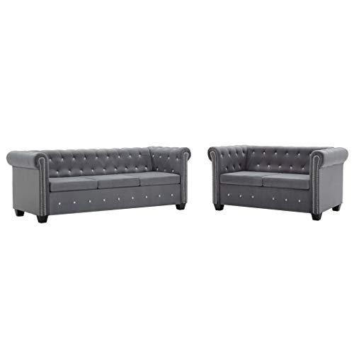 vidaXL Chesterfield Sofa 2-TLG. Samt Grau Polstersofa Couch Sofagarnitur
