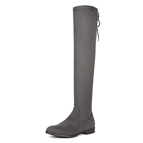 DREAM PAIRS Women's Overide Grey Low Heel Thigh High Over The Knee Flat Boots Size 10.5 B(M) US