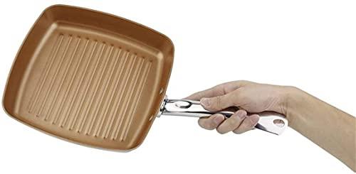LLDKA Effektiver Kochen Anti-Rutschfestem Pot-Quadrat-Quadratischer Anti-Klebstoff-Bratherd Küchenbatterie Kupfer-Beschichtungsset