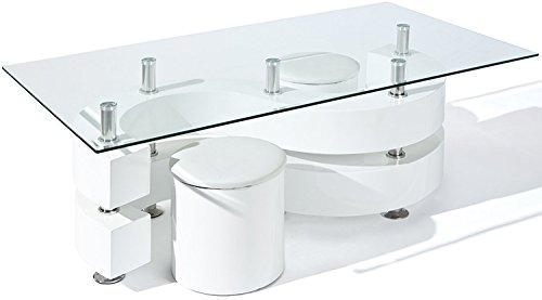 PEGANE Table Basse Saphira avec 2 Poufs Blanc, Dim : 130 x 70 x 46 cm
