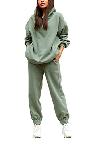 ticticlily Tuta Sportive Donna 2 Pezzi Abbigliamento Sportivo Completo Manica Lunga Sportswear Felpa Pantaloni Set Pigiama Yoga Jogging Ginnastica Homewear Taglie Forti Invernale B Verde L