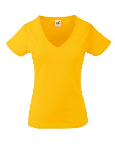 Fruit of the LoomSS047Damen-T-Shirt, V-Ausschnitt Gr. S, sonnenblume