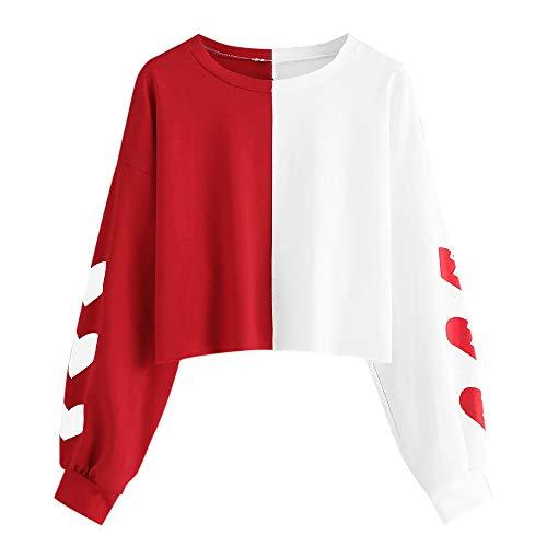 Sudadera para Mujer,Moda Manga Larga Casual Patchwork Sudaderas Cortos Invierno Cuello Redondo Jersey Mujer Otoño Primavera Blusa Tops Tumblr Suéter Mujer Abrigo Deportiva por vpass