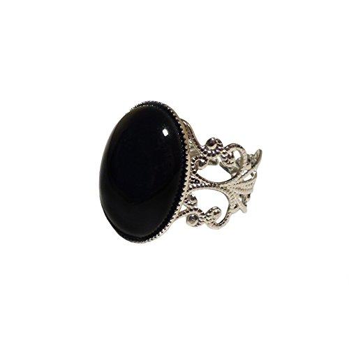 LunarraStar - Anello da donna placcato in argento ovale in onice nera, stile gotico vittoriano con pietre preziose