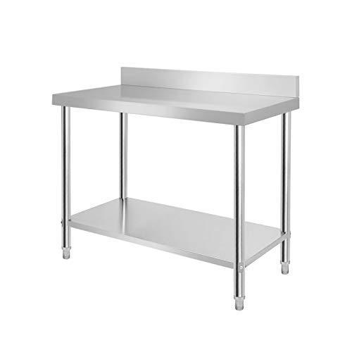 LARS360 Mesa de Trabajo de Cocina acero inoxidable, para gastronomía, preparación de alimentos, cocina, bar, restaurante, metal, L x B x H: 120 * 60 * 85 cm, Con protector contra salpicaduras