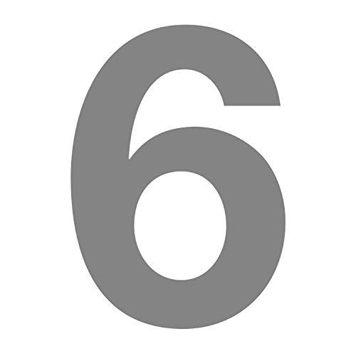 Zahlen-Aufkleber Nr. 6 in silber I Höhe 10 cm I selbstklebende Haus-Nummer, Ziffer zum Aufkleben für Außen, Briefkasten, Tür I wetterfest I kfz_675_6