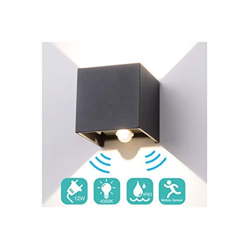 Midore 12W LED Wandleuchte mit Bewegungsmelder Aussen/Innen IP65 Einstellbarer Lichtstrahl Außenbeleuchtung 1000lm Aluminum Up Down Wandlampe für Hof Balkon Treppenhaus Garage 4000K