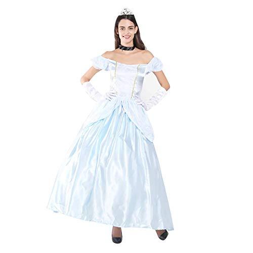 Damen Aschenputtel Kostüm Kleid Prinzessin Cinderella Cosplay Langes Abendkleid Erwachsene Faschingkostüm Rollenspiel Karneval Verkleidung Halloween Weihnachten Partykleid Festliches Ballkleid Blau XL