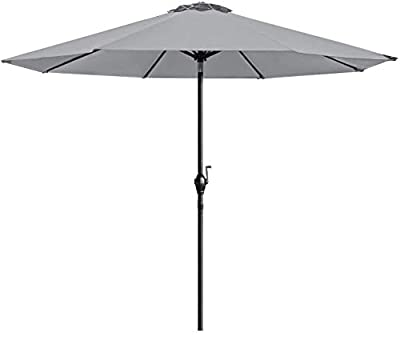 Homall 9 Ft Patio Umbrella Table Umbrella Outdoor Market Straight Umbrella with Tilt Adjustment, 8 Sturdy Ribs (Gray)