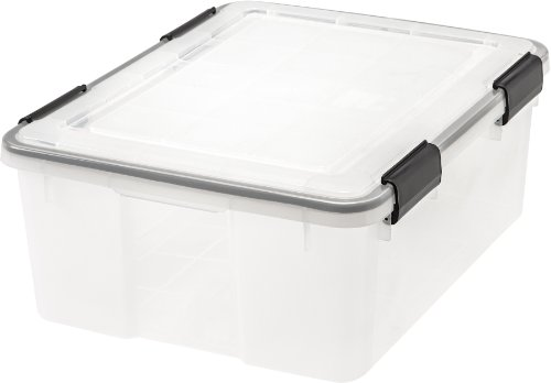 IRIS  Weathertight Storage Box, 30 Quart - Clear