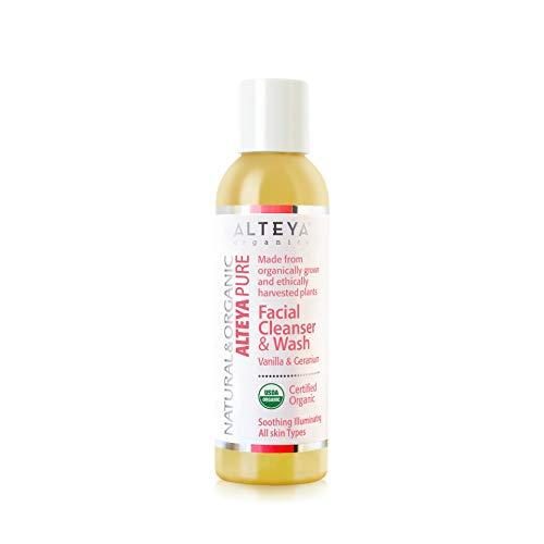 Alteya Organic jabón líquido limpiador facial y lavado 150ml - vainilla y geranio - USDA certificado orgánico, jabón biodegradable - producto natural purificador –apto para todo tipo de piel