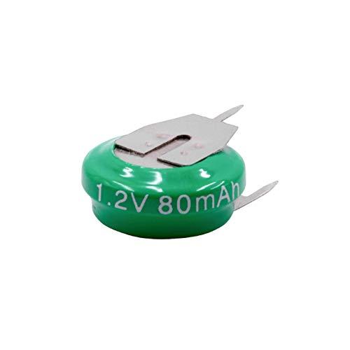 vhbw Pilas botón, Tipo de batería V80H (NiMH, 80mAh, 1.2V) -1 celda, Conector impresión de 3 Pines, Recargable