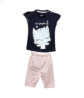 Jockey Printed Snap-Closure Ruffle-Sleeve T-shirt with Elastic-Waist Pants Pajama Set for Girls - Navy and Pink, 6-9 Months