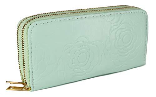 Stefano Reißverschluss Damen Geldbörse Frauen Portemonnaie Geldbeutel Brieftasche (Hellblau)
