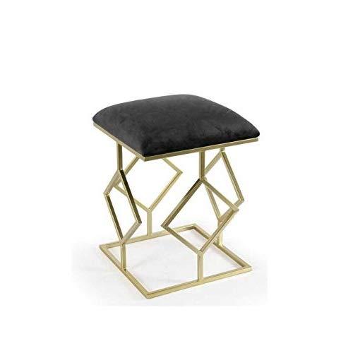 GICOS IMPORT EXPORT SRL Pouf Sgabello Struttura in Metallo Colore Oro 35 * 35 * 45 cm Seduta Imbottita Colore Nero FZO-780059