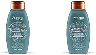 Aveeno Scalp Soothing Rose Water & Chamomile Blen Shampoo & Conditioner for Sensitive and Soft, Sulfate Free, No Dyes or P...