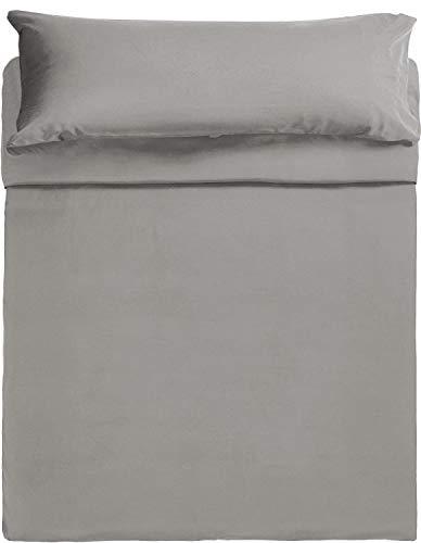 Arcoiris Juego de Sábanas 135x200/190 cm - 3 Piezas - Sábana Bajera Ajustable Cama 135 con Sábana Encimera 210x270cm, 1 Funda de Almohada 45x145cm (Cama 135: 135x190/200cm, Gris)