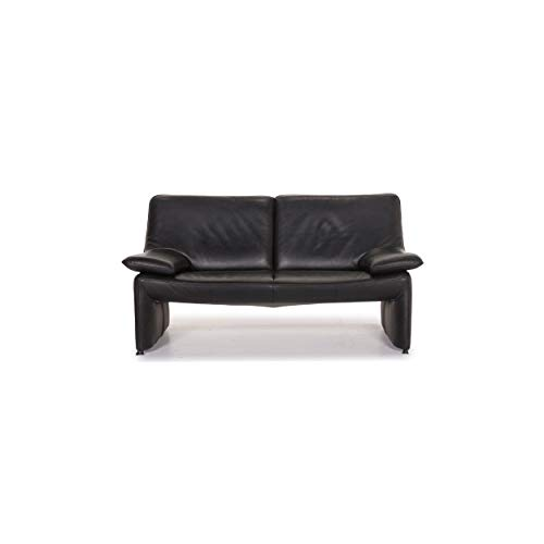 Laauser Atlanta Leather Sofa Black Two-Seater Couch