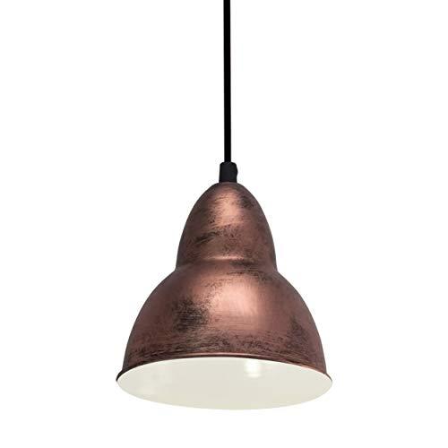 EGLO Pendellampe Truro, 1 flammige Vintage Pendelleuchte im Industrial Design, Retro Hängelampe aus Stahl, Farbe: Kupferfarben-antik, Fassung: E27