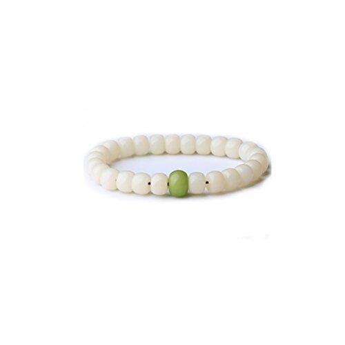 Bracelet ZI Ling Shop- Anillo de Mano de Jade Blanco Natural Círculo de Pulsera de Esmeralda de un Solo varón y Hembra de Cuerda de Mano Verde
