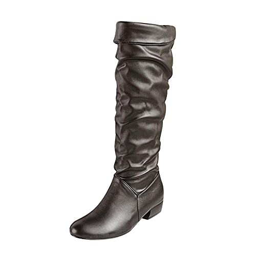Knee High Boots for Women Winter Warm: Round Toe Zipper Leather Shoes Chunky Heel Motorcycle Combat Boots ,e08 Black