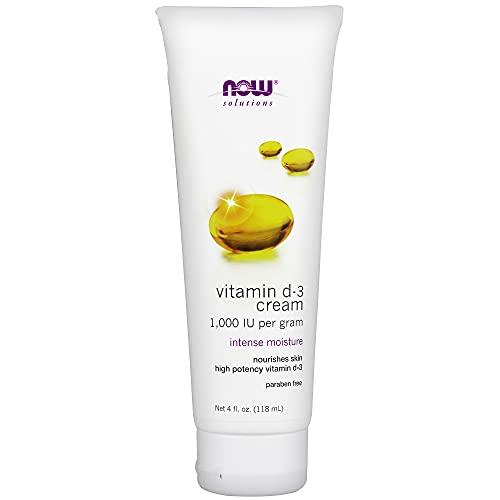 NOW Solutions, Vitamin D-3 Cream 1,000 IU Per Gram, High-Potency, Intense Moisture, 4-Ounce