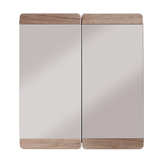 trendteam smart living Badezimmer Spiegel Spiegelschrank Malea, 65 x 70 x 15 cm, Korpus in Eiche San Remo Hell Nachbildung mit großer Spiegelfläche